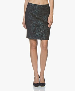no man's land Jacquard Pencil Skirt - Bright Emerald