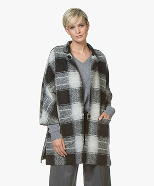 Repeat Oversized Wool Blend Checkered Coat - Light Grey/Black