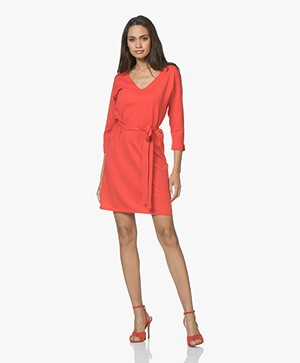 Josephine & Co Jetje Knitted V-neck Dress with Waist Belt - Red