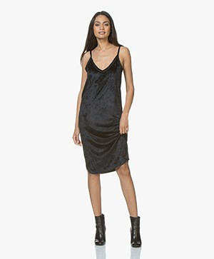 BRAEZ Dust Velvet Slip Dress - Black