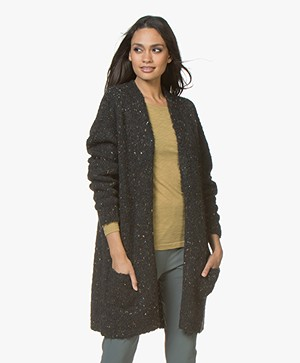 LEÏ 1984 Julien Half Long Open Noppé Cardigan - Black
