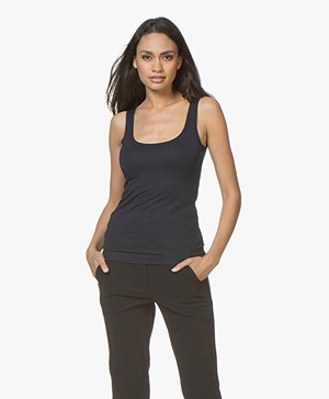 no man's land Basic Viscose Top - Dark Sapphire