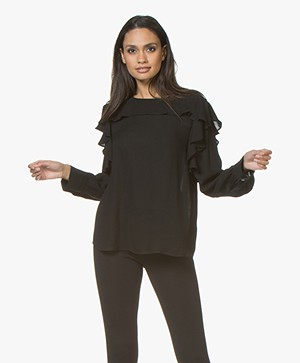 Repeat Viscose Crêpe Blouse met Volants - Zwart
