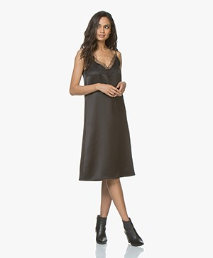 Drykorn Joline Satin Dress with Lace - Black