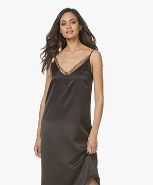 Drykorn Joline Satin Dress with Lace - Black