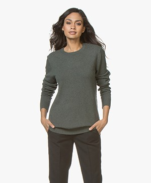 extreme cashmere N°36 Be Classic Ronde Hals Trui - Kaki Groen