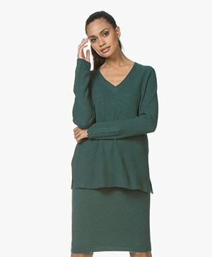 Repeat Cashmere Blend V-neck Sweater - Forest