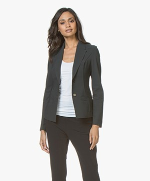 Woman By Earn Juul Bonded Travel Jersey Blazer - Donkergrijs