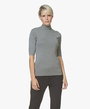 JapanTKY Tora Cotton Short Sleeve Sweater - Light Grey