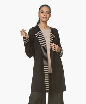 Repeat Open Cardigan with Striped Inside - Black/Hay