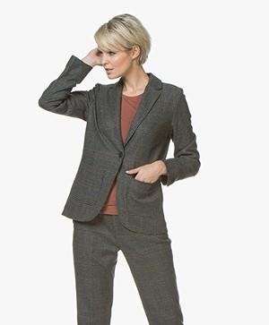 indi & cold Checkered Wool Blend Blazer - Grey