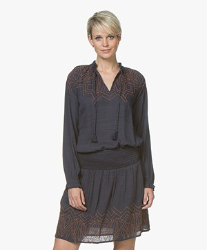 indi & cold Cotton Blend Embroidered Blouse - Marino