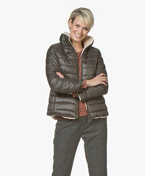 indi & cold Reversible Faux Fur Jacket - Khaki/Beige
