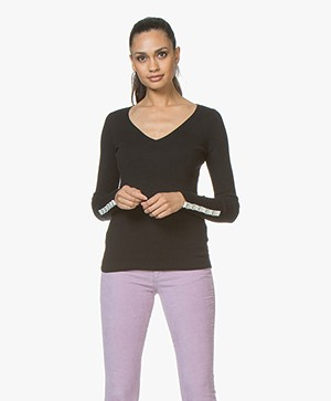 Plein Publique La Papillion V-Neck Sweater - Black