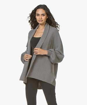 Repeat Mohair Blend Open Cardigan with Shawl Collar - Grey