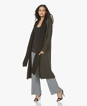 Repeat Wool Blend Long Open Cardigan - Forest
