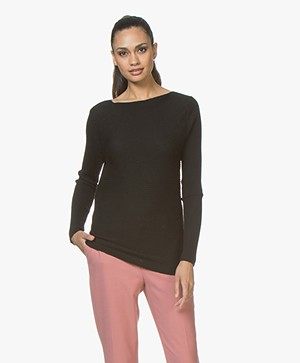 no man's land Boat Neck Sweater in Wool - Core Black