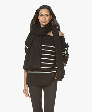 Repeat Cashmere Rib Knitted Scarf - Black