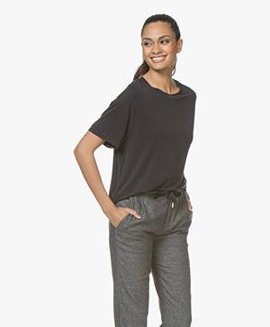 Drykorn Kyla Cupro T-shirt - Zwart