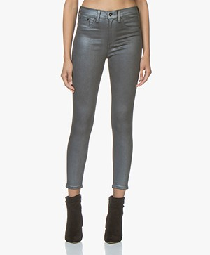 Rag & Bone High Rise Ankle Skinny Jeans - Gunmetal Metallic