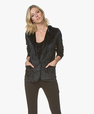 BRAEZ Cynthia Velvet Jersey Blazer - Black