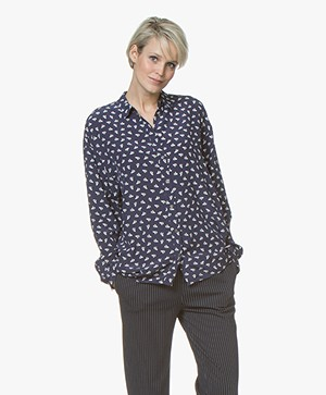 BOSS Ecluni Silk Print  Blouse - Dark Blue