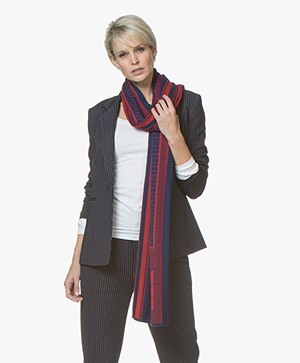 Wolvis Toledo Merino Jacquard Scarf - Red/Royal Blue