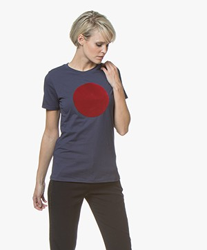 BOSS Teround Flock Print T-shirt - Dark Blue