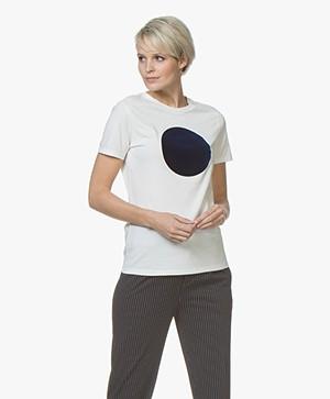 BOSS Teround Flock Print T-shirt - Open White