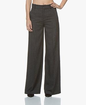 Drykorn Classy Herringbone Wide Leg Pants - Dark Grey