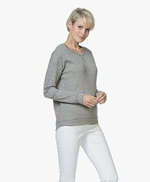 Majestic Filatures Tweed Look Katoenmix Sweater - Antraciet/Milk