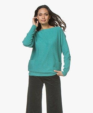 Repeat Cashmere Boothals Trui - Watergreen