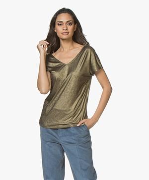 Petit Bateau Lurex Double V-neck T-shirt - Black/Gold