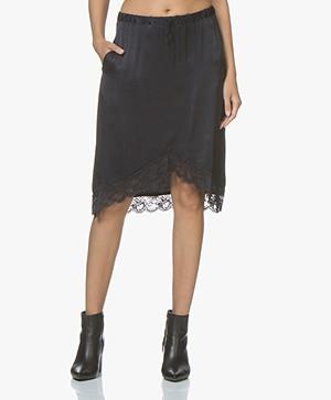 Ragdoll LA Satin Skirt with Lace - Dark Navy