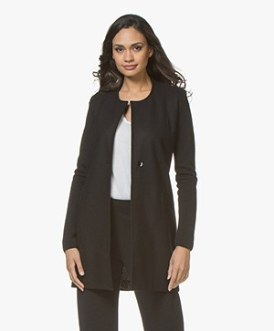 Belluna Lauren Long Collarless Blazer - Black