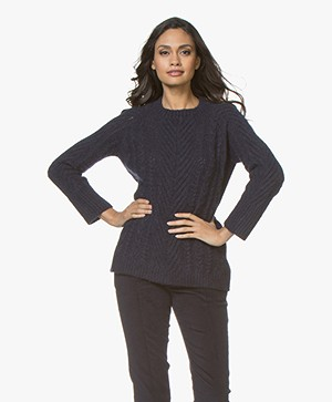 no man's land Cable Sweater in Alpaca Blend - Dark Sapphire