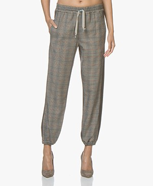 Zadig & Voltaire Parole Mix Checkered Pants - Grey/Brown
