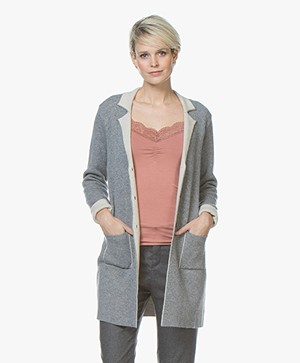 Belluna Cafe Knitted Blazer Cardigan - Grey/Beige