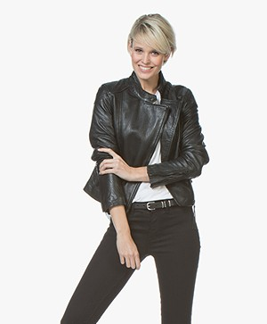 Denham Charleston Leather Biker Jacket - Shadow Black