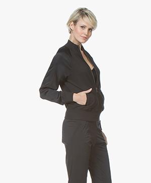 BRAEZ Joy Bomber Vest met Satijnen Mouwen - Zwart