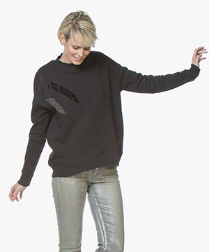 Denham Deco Sweater met Abstracte Print - Shadow Black