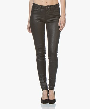 Denham Spray Super Tight Fit Jeans met Coating - Zwart