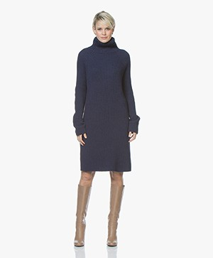 Drykorn Arwenia Rib Knit Turtleneck Dress - Dark Blue