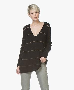 Drykorn Selen Long Striped V-neck Sweater - Black