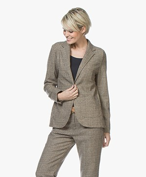 indi & cold Checkered Wool Blend Blazer - Beige