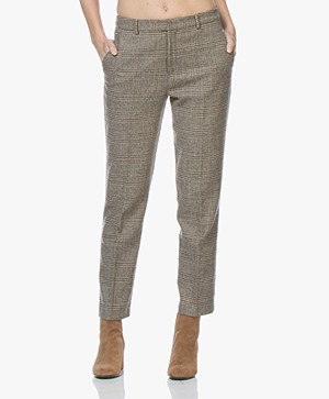 indi & cold Cropped Checkered Pants - Beige