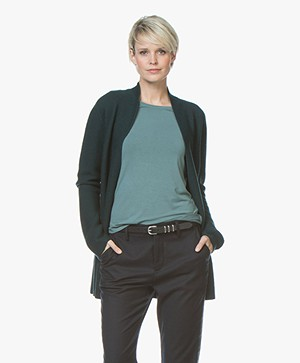 no man's land Open Wollen Rib Vest - Dark Emerald