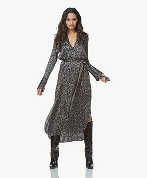 Equipment Connel Zijden Print Maxi Jurk - Silver Steel