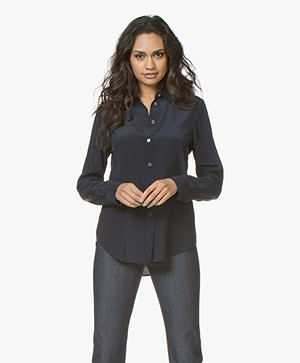 Filippa K Classic Silk Shirt - Navy