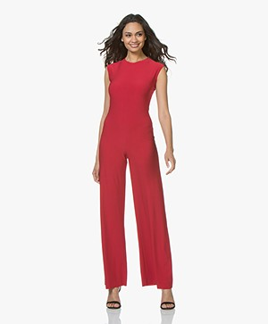 Norma Kamali Sleeveless Travel Jersey Jumpsuit - Red